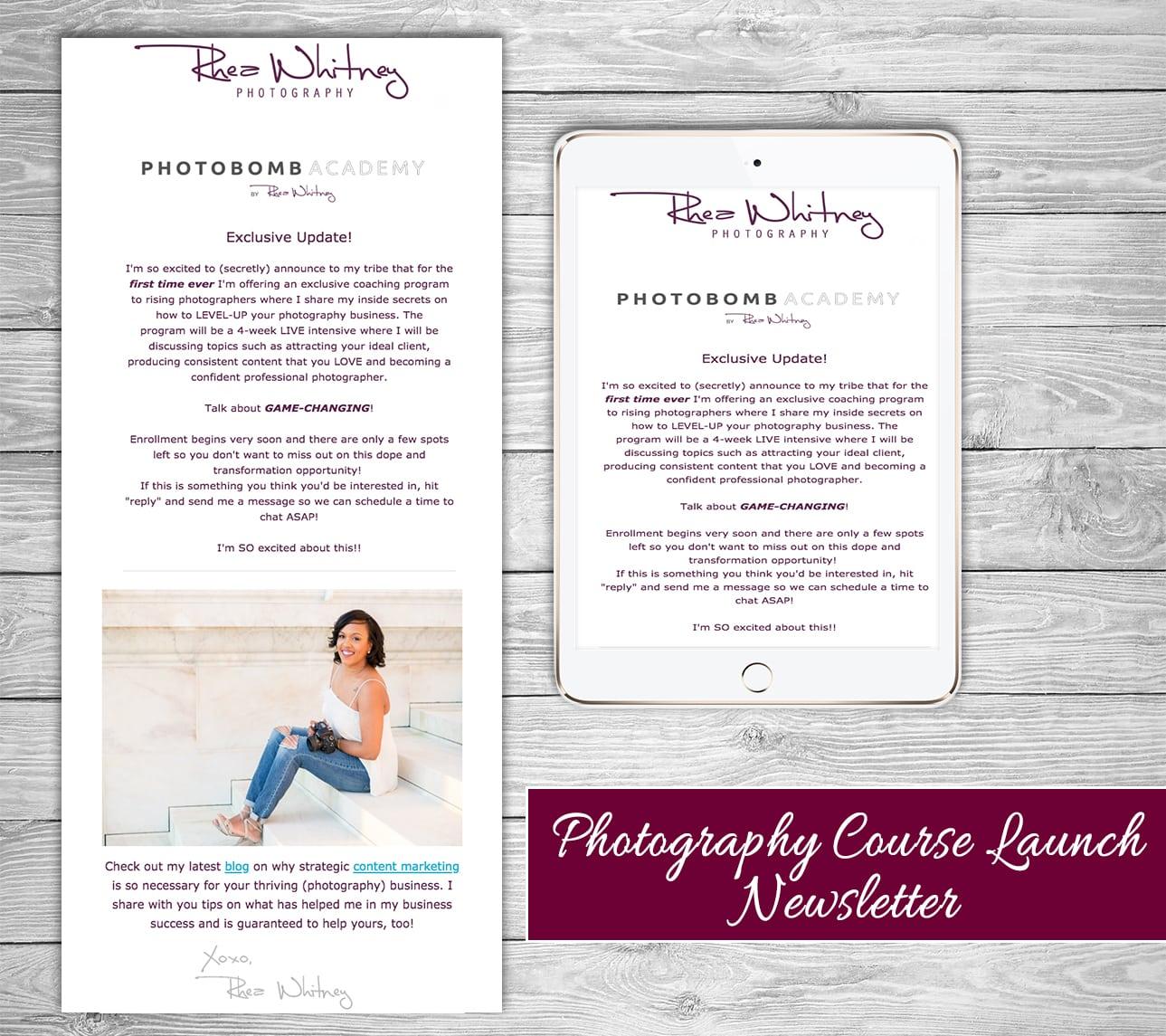 RheaWhitney_Photobomb_Academy_Course_Launch_Newsletter